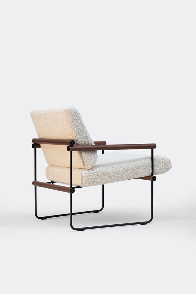 AUDREY S12 Charcoal Frame Walnut White Fabric back side
